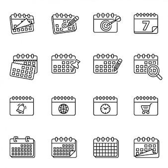 Calendário, gerente de tarefas de calendário, calendários, calendário diário, calendário de parede, conjunto de ícones de calendário semanal.