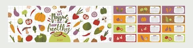Calendário horizontal colorido bonito.