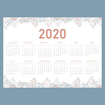 Calendário horizontal do jardim bonito 2020