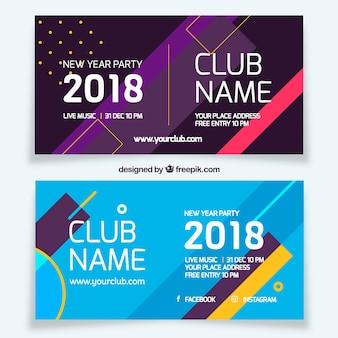 Calendário horizontal memphis ano novo 2018 banners