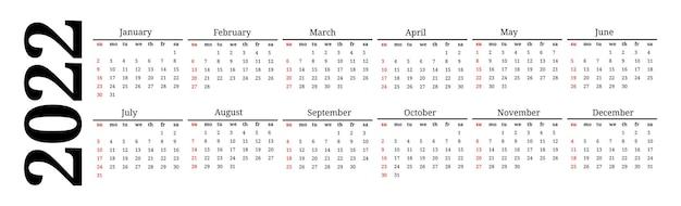 Calendário horizontal para 2022 isolado em um fundo branco. domingo a segunda-feira, modelo de negócios. ilustração vetorial