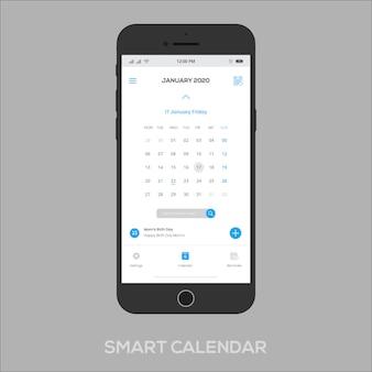 Calendário inteligente app ui ux