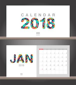 Calendário janeiro 2018. calendário de mesa modelo de design moderno com estilos de corte de papel
