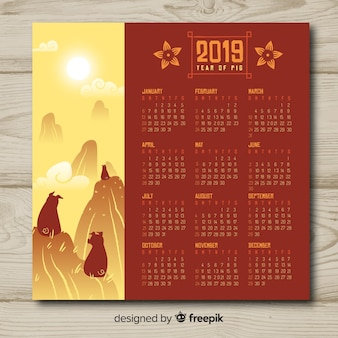 Calendário lindo ano novo chinês