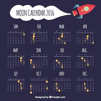 Calendário lunar com nave espacial