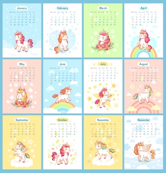 Calendário mágico bonito do unicórnio 2019 doce para crianças. unicórnios de fada com modelo de vetor de desenhos animados de arco-íris para o design de calendários