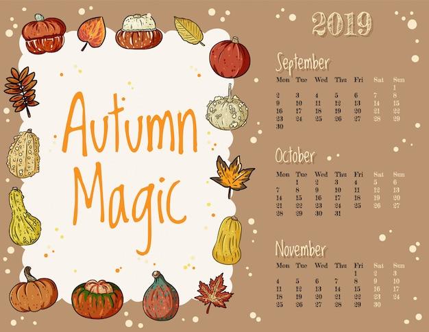 Calendário mágico de outono de hygge aconchegante 2019 de outono