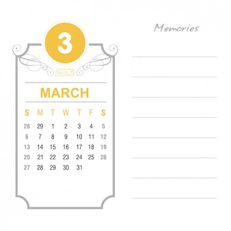 Calendário março vintage 2016