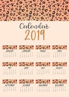 Calendário mensal 2019 com pele de leopardo