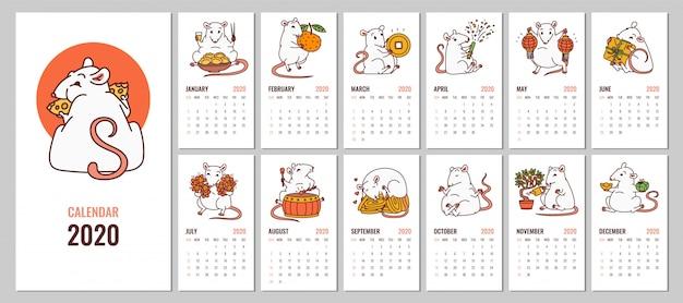 Calendário mensal 2020 com símbolo de ano novo chinês do rato.