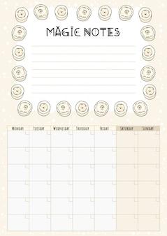 Calendário mensal boho com elementos decorativos de velas brancas