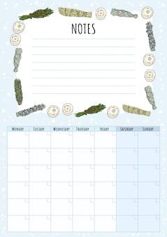 Calendário mensal boho com manchas de sálvia varas elementos e lista de afazeres. planejador de pacotes de ervas hygge. modelo de hygge estilo bonito dos desenhos animados para agenda, planejadores