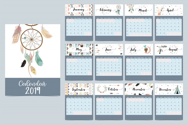 Calendário mensal chique com dreamcatcher