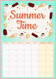 Calendário mensal colorido com elementos de sorvete.