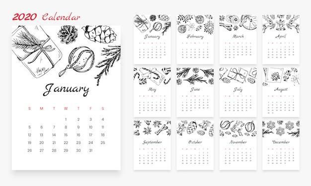 Calendário mensal criativo de natal 2020 com elementos de desenho