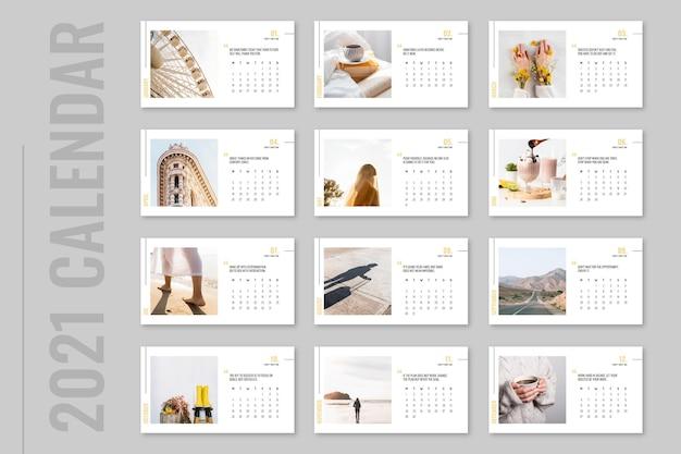 Calendário mensal da natureza com fotos inspiradoras minimalistas