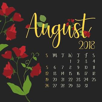Calendário mensal de agosto de 2018