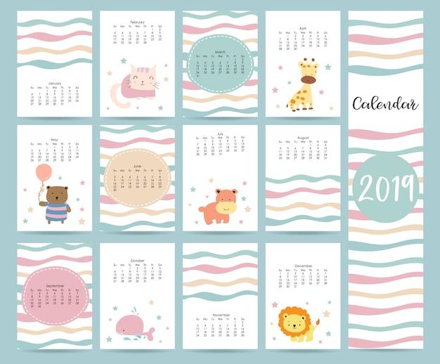 Calendário mensal fofo