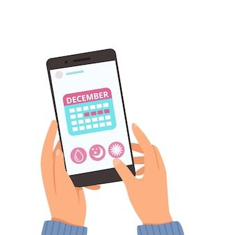 Calendário menstrual. aplicativo de ciclo feminino online. as mãos seguram um smartphone com ilustração em vetor planejador do mês