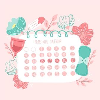 Calendário menstrual com elementos de saúde feminina ilustrados