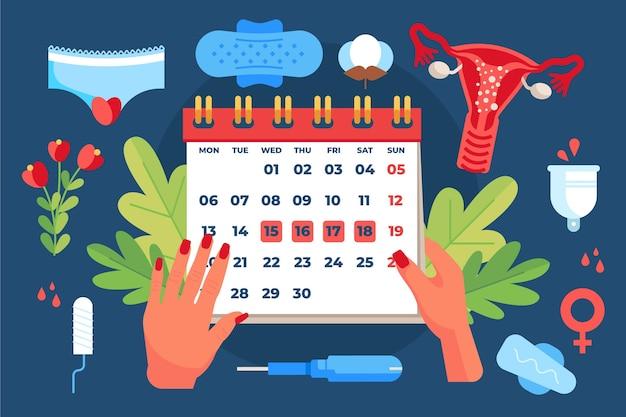 Calendário menstrual ilustrado