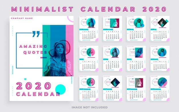 Calendário minimalista 2020 retrato com foto e citações