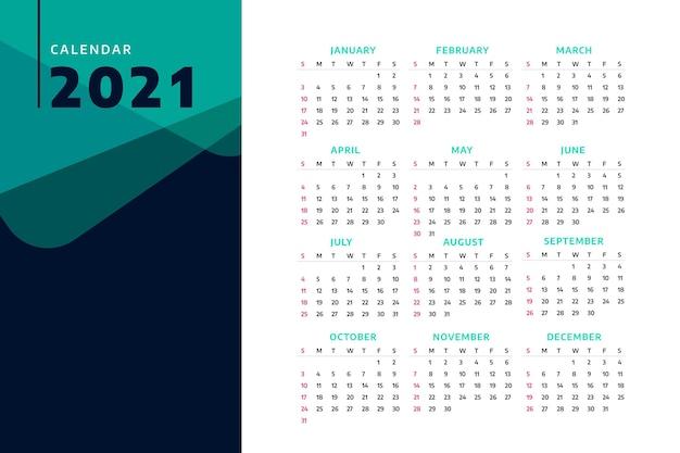 Calendário minimalista do ano novo 2021