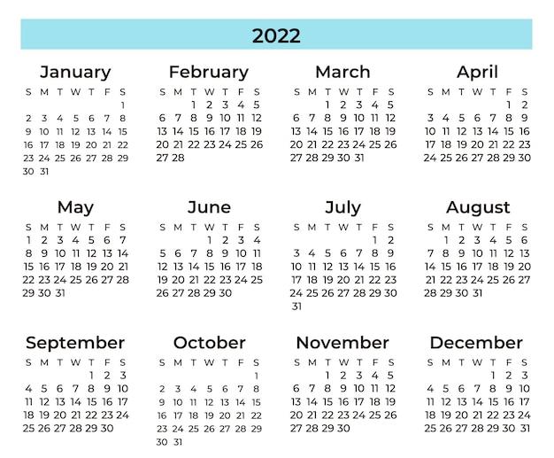 Calendário mínimo azul e preto