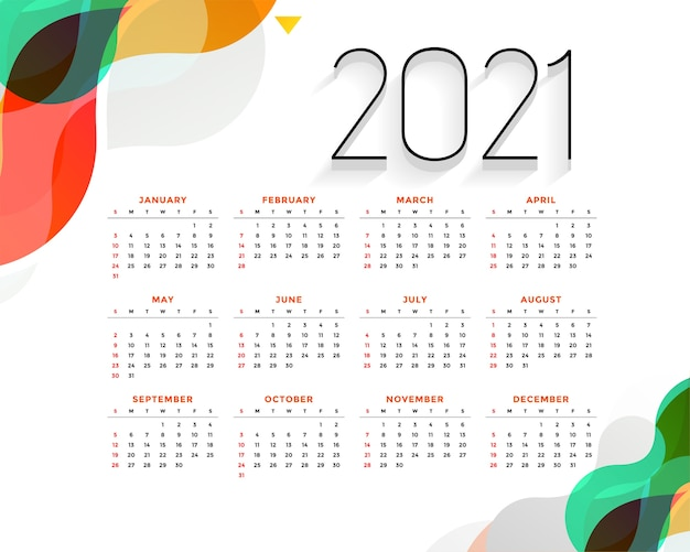 Calendário moderno de ano novo colorido e elegante