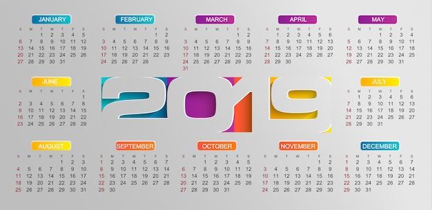 Calendário moderno para o ano de 2019