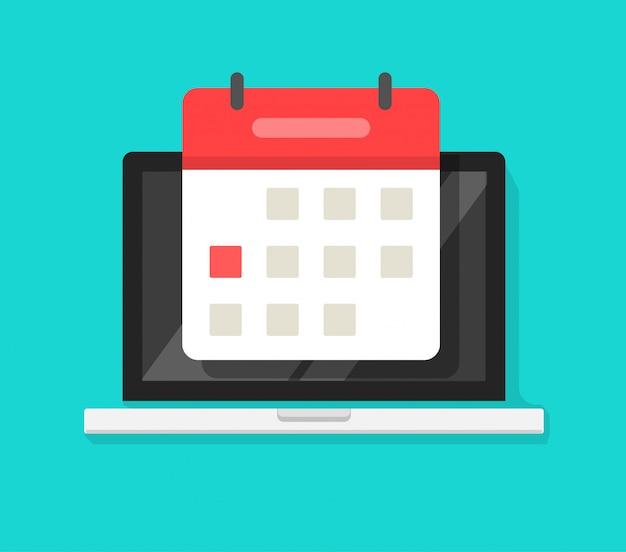 Calendário on-line ou agenda de eventos no computador portátil pc tela plana dos desenhos animados