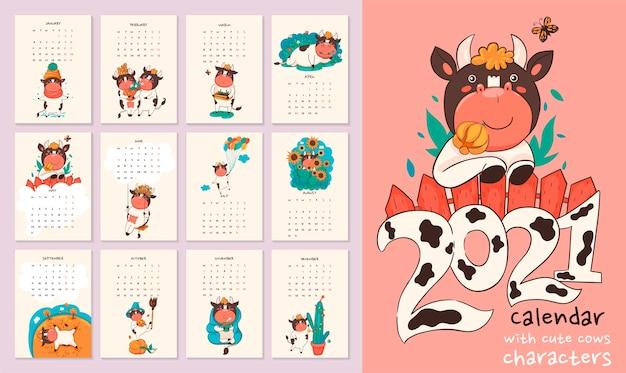 Calendário ou planejador 2021 kawaii cartoon boi.