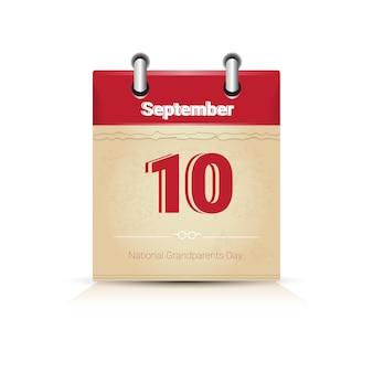Calendário página feliz avós dia setembro feriado