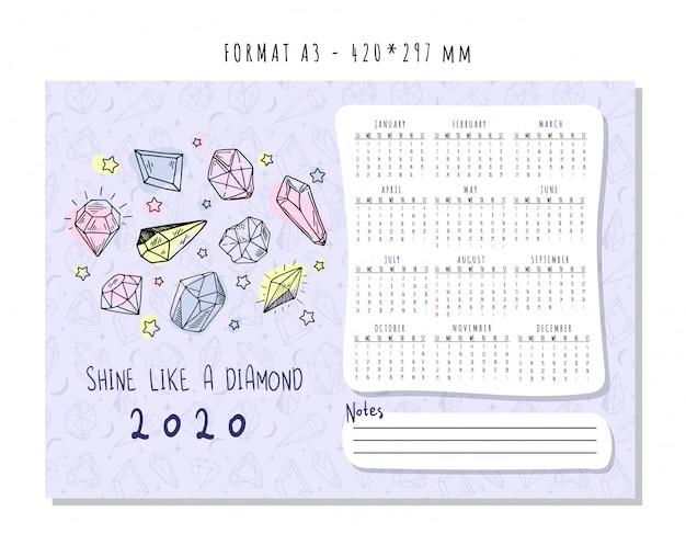 Calendário para 2020 com cristais geométricos coloridos ou gemas, diamantes de jóias e pedras preciosas