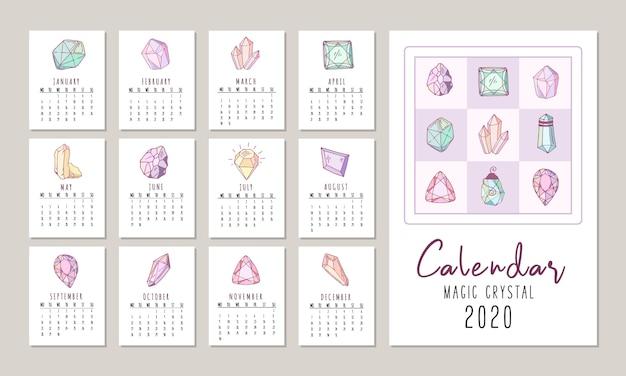 Calendário para 2020 com cristais ou pedras preciosas, diamantes de jóias e pedras preciosas