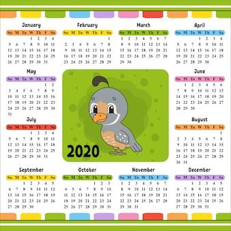 Calendário para 2020 com um personagem fofo