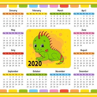 Calendário para 2020 com um personagem fofo.