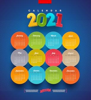 Calendário para 2021 anos