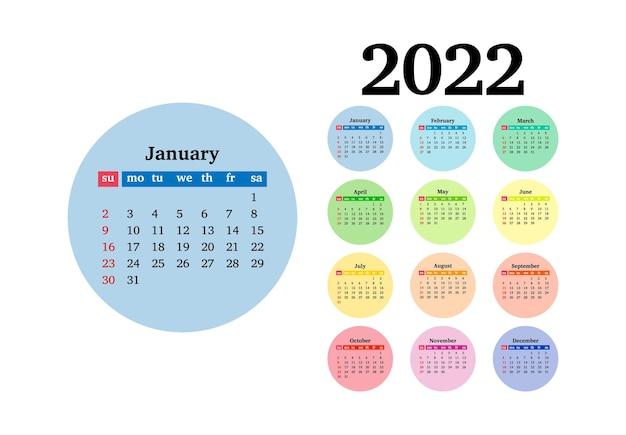 Calendário para 2022 com grande janeiro isolado em um fundo branco. domingo a segunda-feira, modelo de negócios. ilustração vetorial
