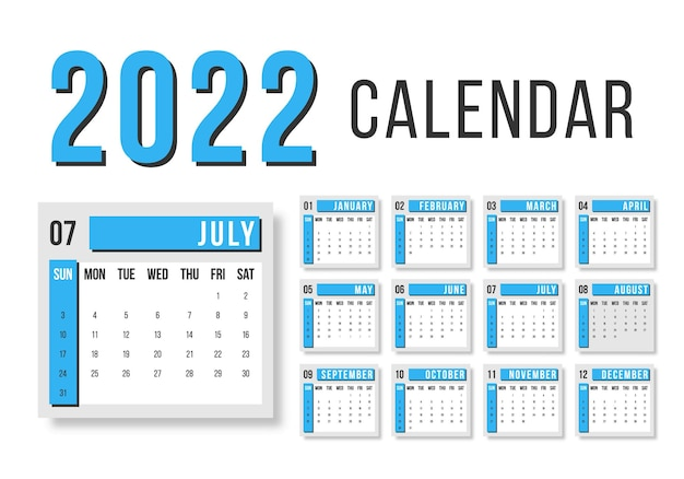 Calendário para 2022 em fundo branco para organização e negócios