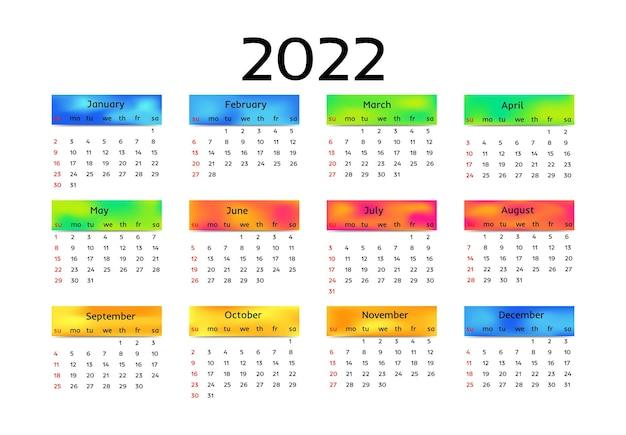 Calendário para 2022 isolado em um fundo branco. domingo a segunda-feira, modelo de negócios. ilustração vetorial Vetor Premium