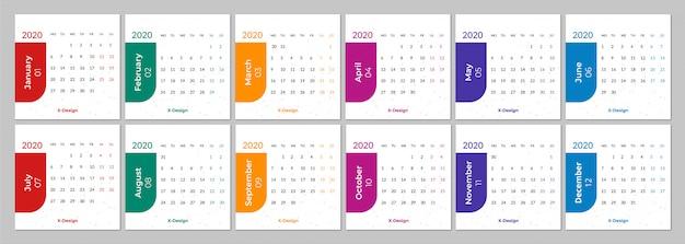 Calendário para a semana 2020 começa segunda-feira