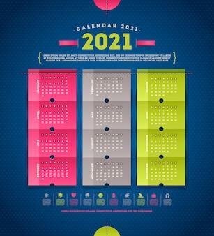 Calendário para design de modelo de 2021 anos com.