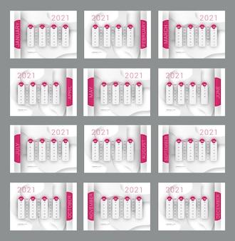Calendário para impressão de ano novo de 2021