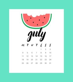 Calendário para julho de 2016.