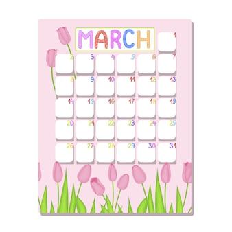 Calendário para março com tulipas