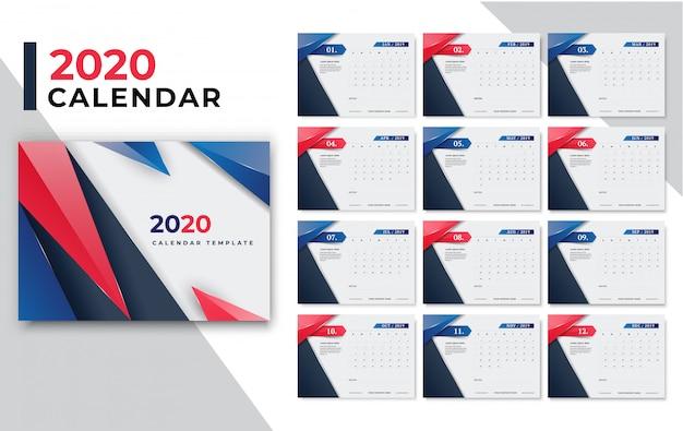 Calendário para o ano de 2020