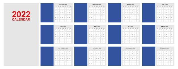 Calendário para o modelo mensal de 2021 anos agenda do planejador calendário corporativo e de negócios