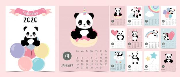 Calendário pastel doodle conjunto 2020 com panda
