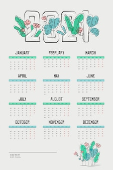 Calendário plano de ano novo de 2021